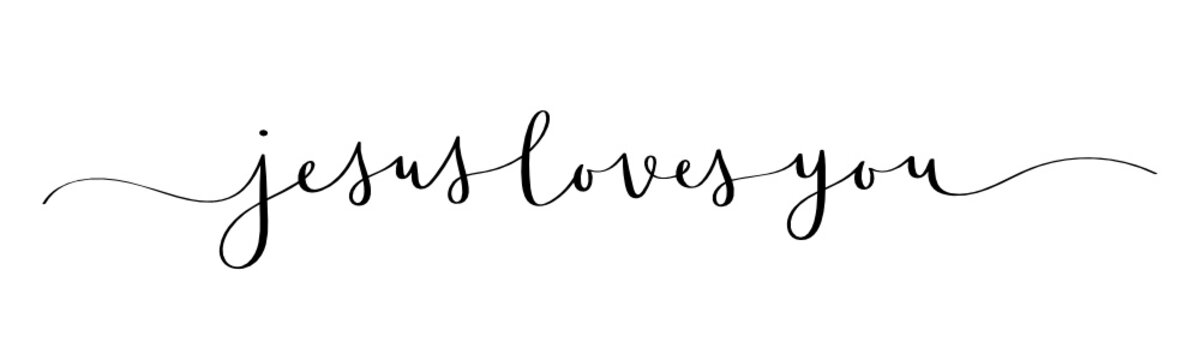JESUS LOVES YOU vector brush calligraphy banner