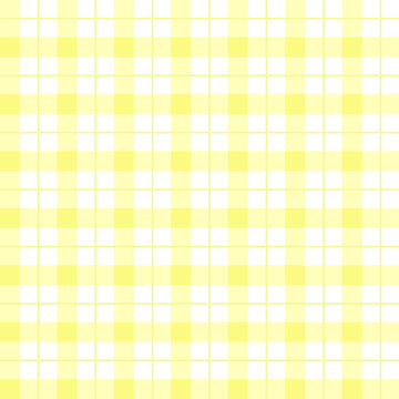 Yellow and white plaid texture. Yellow checkered seamless pattern for picnic. Yellow Gingham seamless background. Checkered backdrop for textile,tablecloth,clothes,shirt,blanket,napkin, towel. Vector