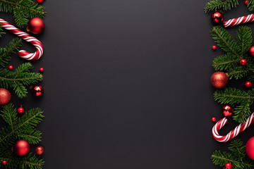 Christmas frame on black background
