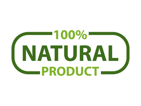 Natural product with 100 percent guarantee isolated lettering in frame. Organic logo of cosmetics, food, medicines and eco materials, logotype design. Vector illustration in flat cartoon style