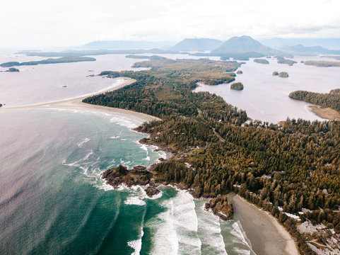 Vancouver Island Tofino sunset from above with drone