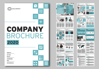 Company Brochure Layout with Teal Accents