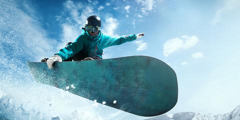 Poster Glisse hiver Snowboarding.