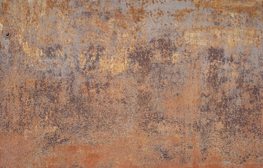 Textures of rusty iron with peeling paint