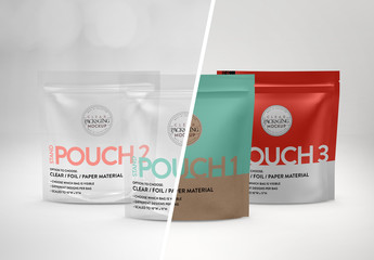 Clear Foil Stand Zip Pouch Mockup