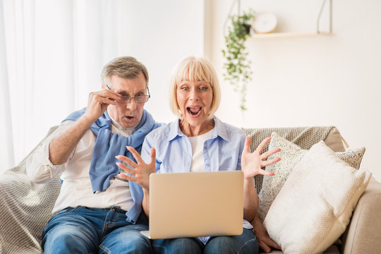 Surprised elder couple winning online auction bid