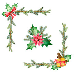 Watercolor frames, corners, compositions of pine branches, cones, leaves, bows, gifts for festive decoration of cards and invitations. Illustration on white background. Christmas and new year design.