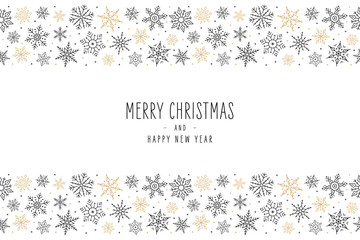 Wall Mural - Christmas snowflake elements border card with greeting text seamless pattern background.
