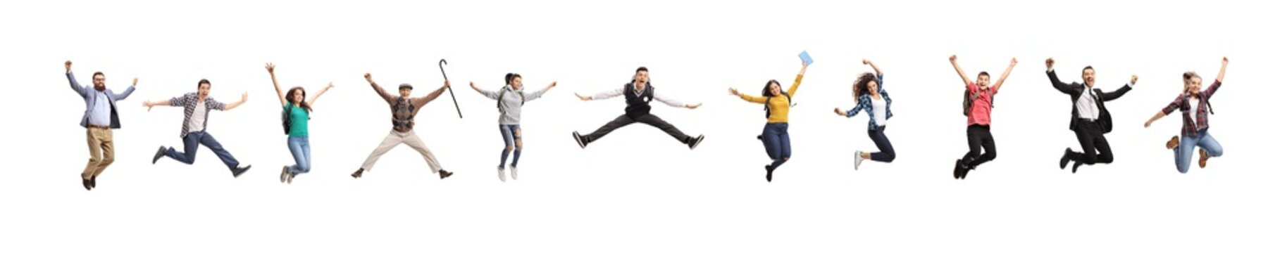 Many young and older people jumping out of happiness