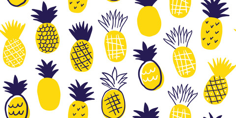 Colorful minimalistic pineapples pattern