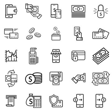Business and finance website and application line icons set vector illustration contains such icons as wallet, ATM, bundle of money, hand with a coin and more.