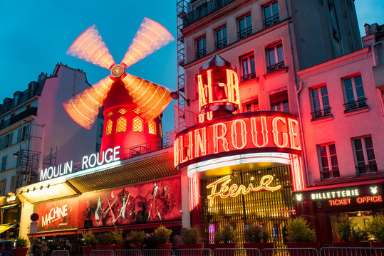 PARIS - MAY 07: Cabaret Moulin Rouge in the Night Time in Paris on May 07. 2017 in France
