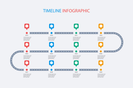 Road map business timeline infographic with 12 step pins. Can be used for business concept, presentation, web design, banners, diagram, workflow, timeline. Vector eps 10