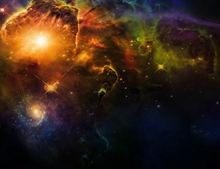 Fototapete - Vivid Space. Bright stars and nebulae