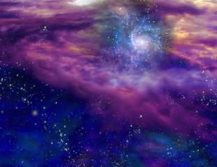 Fototapete - Galaxy in purple blue space