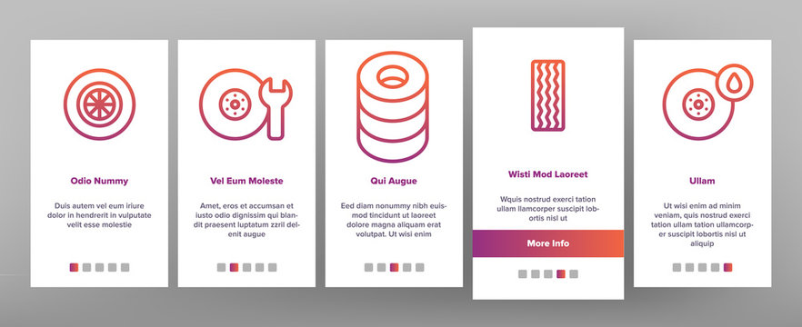 Tire Wheel Onboarding Mobile App Page Screen Vector Thin Line. Low Pressure, Equipment For Repair Tire And Break Concept Linear Pictograms. Car Service And Store Contour Illustrations
