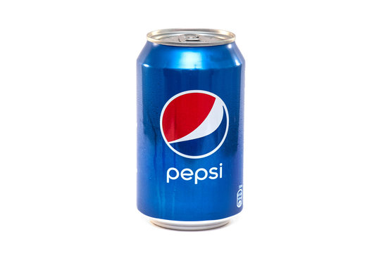 BERLIN - JUN 03: Wet Can of Pepsi or Pepsi Cola Beverage isolated on white Background in Berlin on June 03. 2019 in Germany