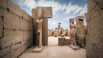 Statue of pharaoh in Karnak Temple Complex in Luxor, Egypt