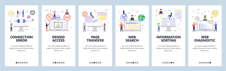 Mobile app onboarding screens. Connection plug, denied access, data sync, global search. Menu vector banner template for website and mobile development. Web site design flat illustration