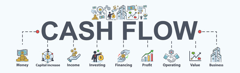 Cash flow banner web icon for business and financial, money, income, investing, operating, financing and profit. Flat cartoon vector infographic.