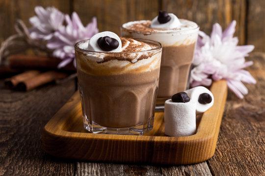 Happy  monster, pumpkin spice latte with big marshmallow eye
