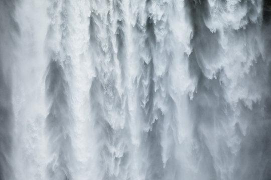Close-uo of Skogafoss waterfall in Iceland, Europe.