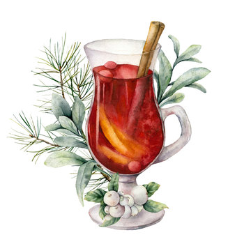 Watercolor Christmas mulled wine with lambs ears and berries. Hand painted wine glass and snowberries isolated on white background. Winter illustration for design, print, fabric or background.