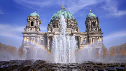 the famous berlin cathedral with fountain