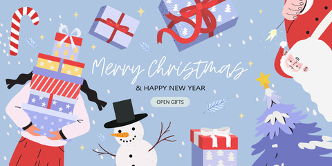 Merry Christmas and happy new year banner with Santa Claus, snowman, fir-tree and a woman holding a pile of presents in gift boxes. Creative banner, flyer, poster or landing page for web or blog post.