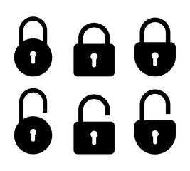 Set of lock and unlock icon. Vector symbol on white background.