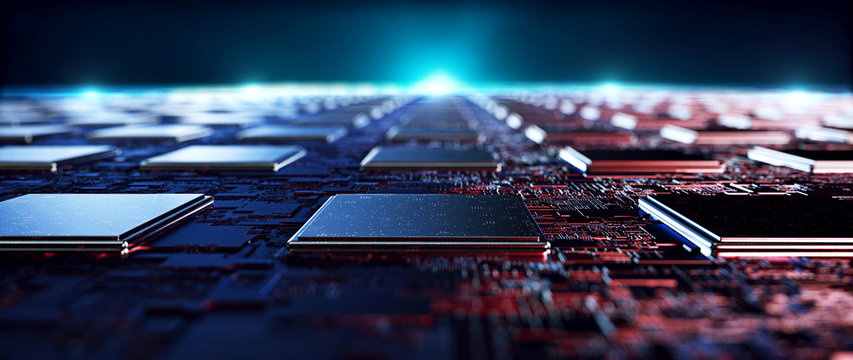 Printed circuit board futuristic server/Circuit board futuristic server code processing. Orange,  green, blue technology background with bokeh