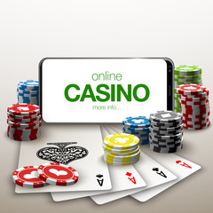 illustration Online Poker casino banner with a mobile phone, chips, playing cards and dice. Marketing Luxury Banner Jackpot Online Casino with New model Smartphone. Empty advertising poster.