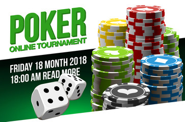 illustration Online Poker casino banner with a chips and dice. Marketing Luxury Banner Jackpot Online Casino with flat paper cloud for text. advertising poster.