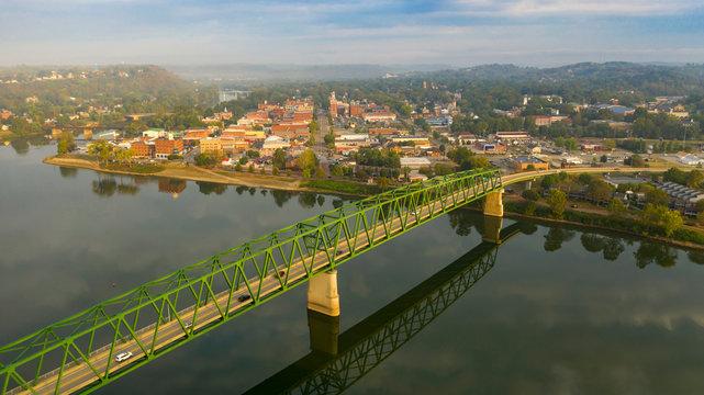 Foggy Morning Over the River and Main Street Marietta Ohio Washington County