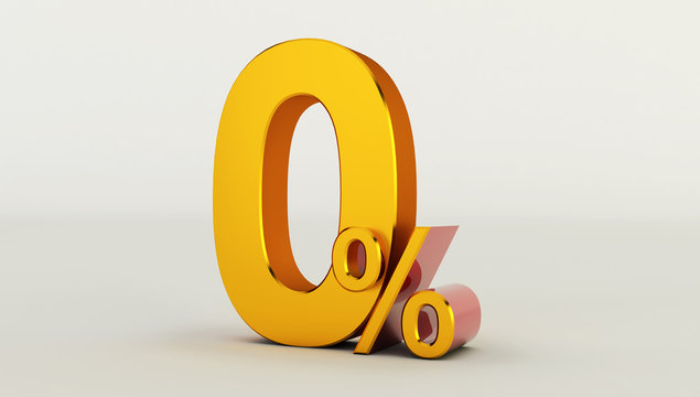3D rendering of a golden zero percent on a white background. Sale of special offers. Discount with the price is 0%.