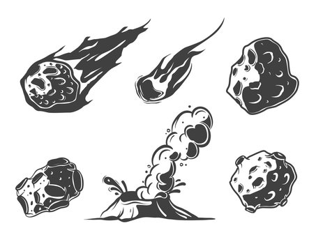 Meteors collection with falling comets. Asteroids. The volcano. Crater in cartoon style.