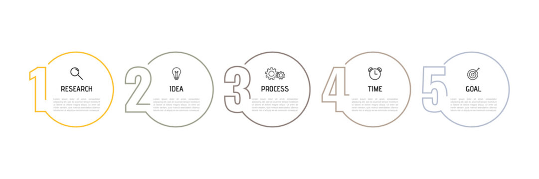 Infographic template for business process. Thin line design with numbers 5 options or steps. Vector illustration graphic design