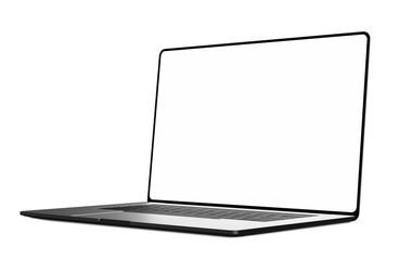 Laptop frameless blank screen isolated on white background