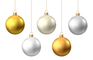 In de dag Bol Realistic gold, silver Christmas balls isolated on white background.
