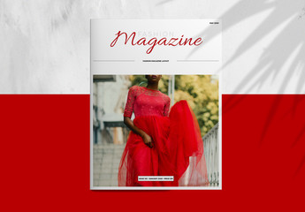 Fashion Magazine Layout with Red Accents