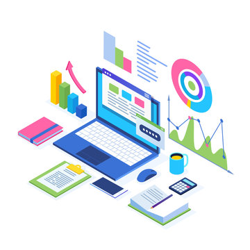 Data analysis. Digital financial reporting, seo, marketing. Business management, development. 3d isometric laptop, computer, pc with graph, chart, statistic. Vector design for website