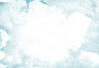 Watercolor background with light blue splashes for artistic banner, template postcard design. Abstract water in trendy minimal style with tender blue ombre painting. Watercolour vintage texture.