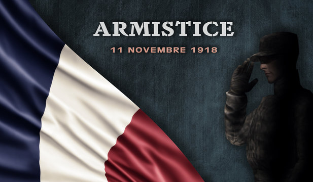 France National Holiday. French Flag background with soldier and national colors. Armistice.