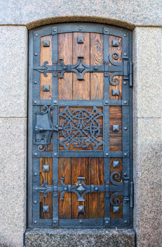 Ancient doors of the entrance to the dungeon of Vladimir hill in Kiev