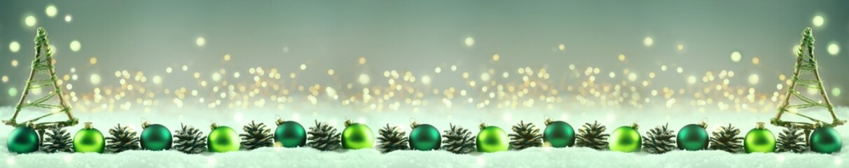 Abstract Christmas Background  -  Christmas decoration row in snow landscape  -   Pine cones, baubles and tree