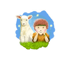 Aries horoscope sign with children digital art illustration isolated on white. Little boy and young cow sitting on the meadow on background of blue sky, horned pet animal sign for prints design.