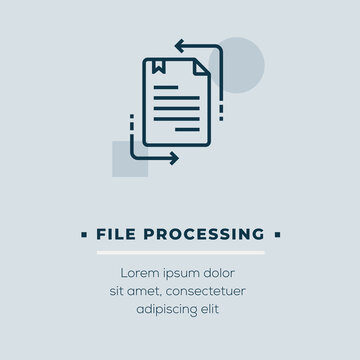 File Processing Outline Icon Design. Modern Vector Illustration isolated on blue background with subtitle