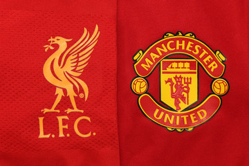 BANGKOK, THAILAND - JULY 24,: The Logo of Liverpool and Manchester United on Football Jerseys on July  24