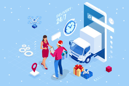 Isometric Christmas online shopping and winter sale web banner concept. Delivery man with winter gift box. Merry Christmas and Happy Holidays.