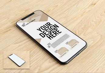 Smartphone on Wood Surface Mockup